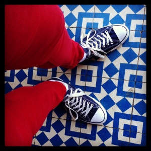 Red Pants, Blue Tiles