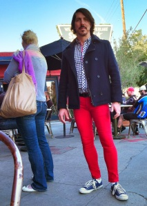 Red Pants in Line for Coffee