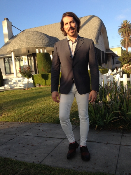 me in white tight pants