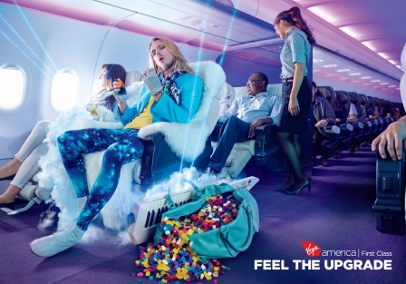 "Print Campaign for Virgin America ""Feel the Upgrade"""